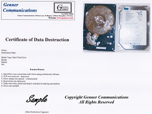 Telford Hard Disk Drive data destruction certificate